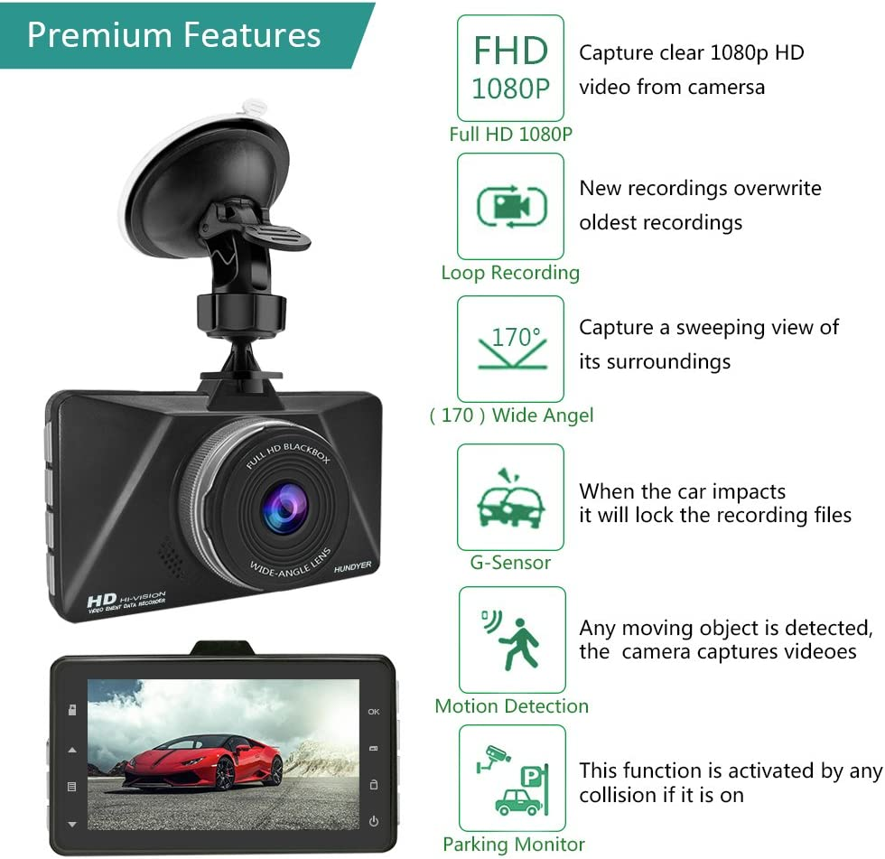 con 16GB Tarjeta Micro SD G-Sensor Monitor de Estacionamiento Grabaci/ón de Bucle Detecci/ón de Movimiento Senwow C/ámara de Coche Full HD 1080P Dash Cam Gran /Ángulo