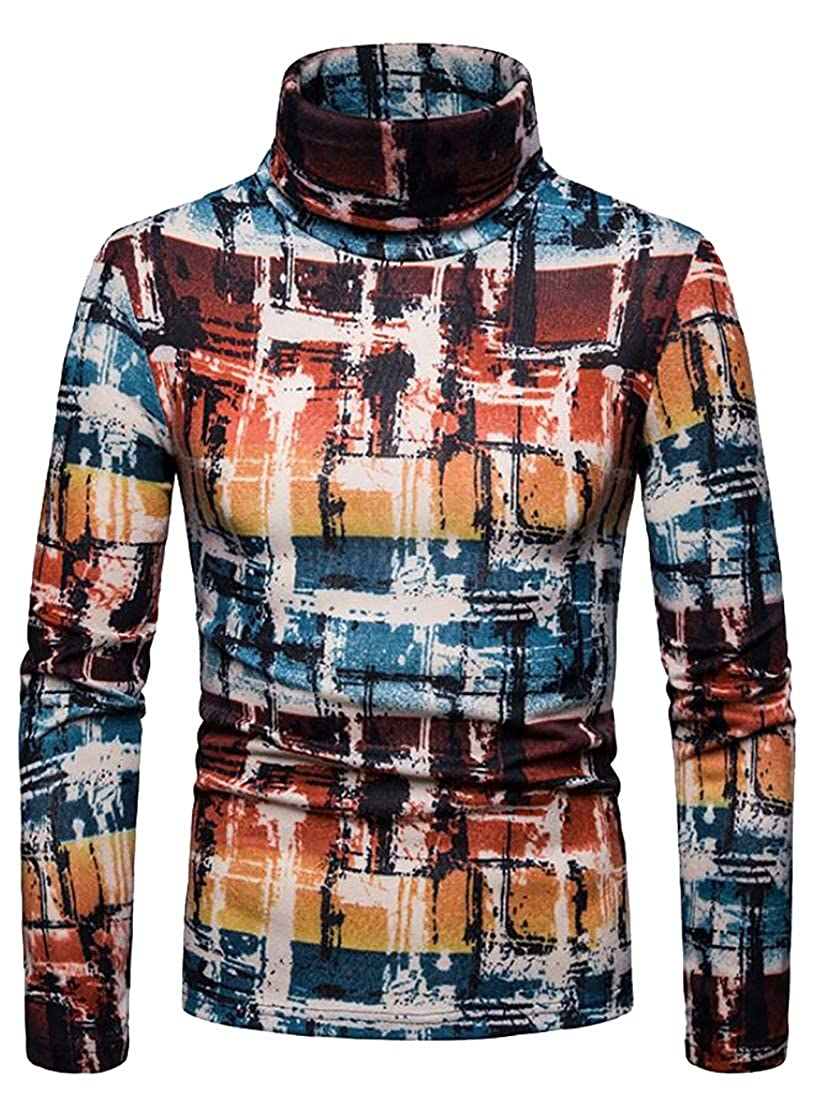 XQS Mens Winter Basic Geometric Print Knitted Turtleneck Pullover Sweaters