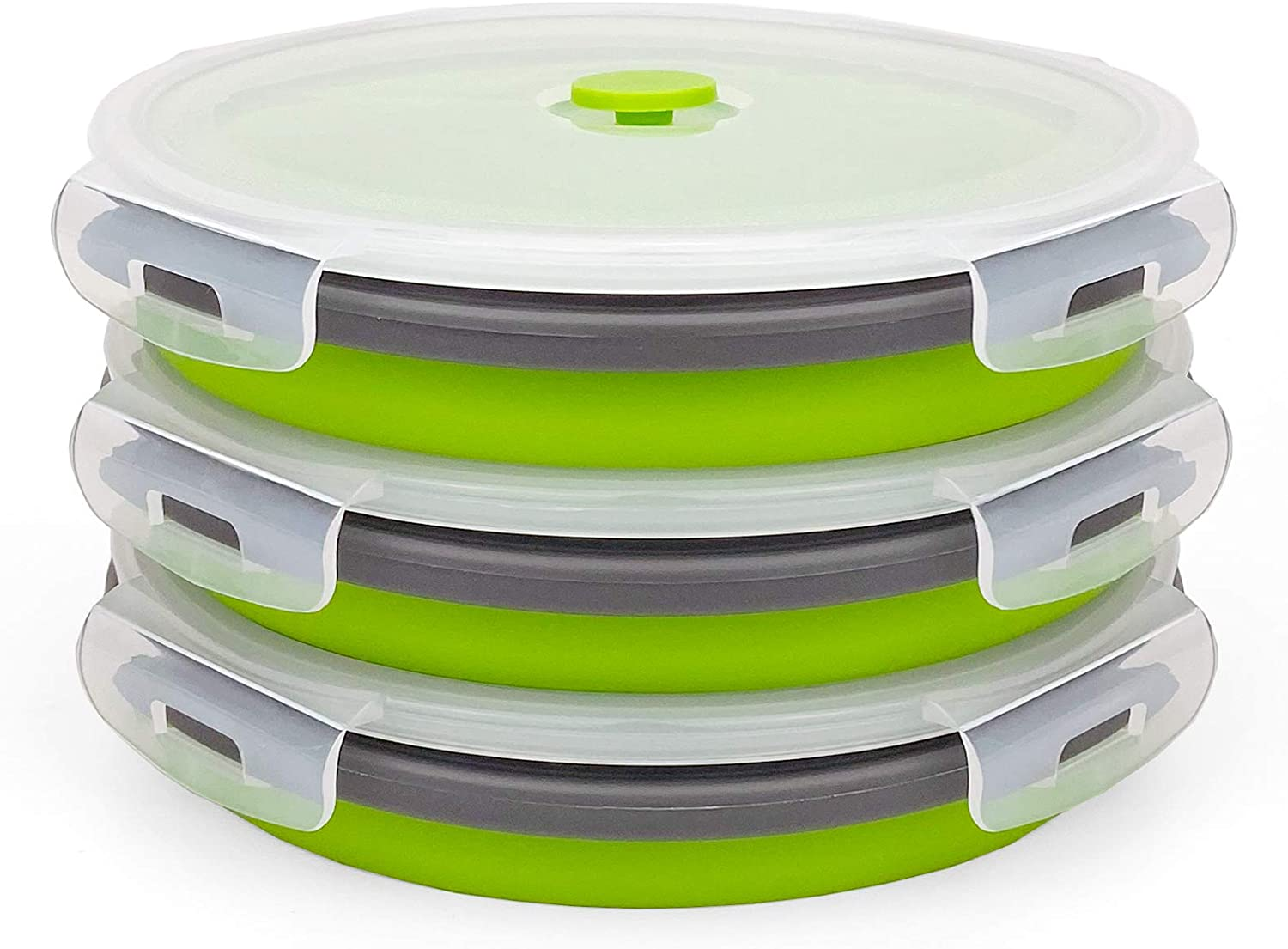 CARTINTS 1200ml Large Collapsible Meal Prep Containers, Reusable Silicone Food Storage Containers, Stackable Fridge Storage Containers, With Leakproof Lids, Microwave and Freezer Safe, Green