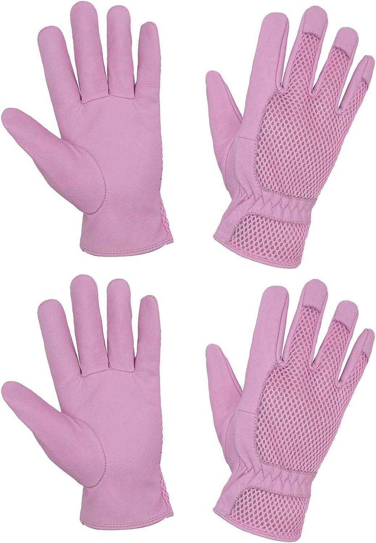 2 Pairs Garden Gloves Women, Ladies Pigskin Scratch Resistance Rose Pruning Gardening Gloves