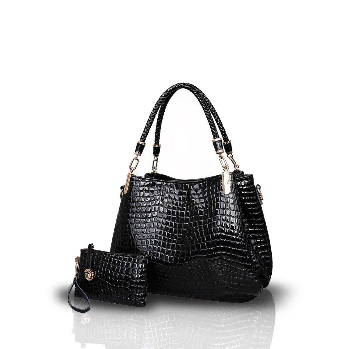 Nicole&Doris New Crocodile Grain PU Leather Women/Ladies Shoulder Bag Handbag Crossbody Totes Large Bag Black