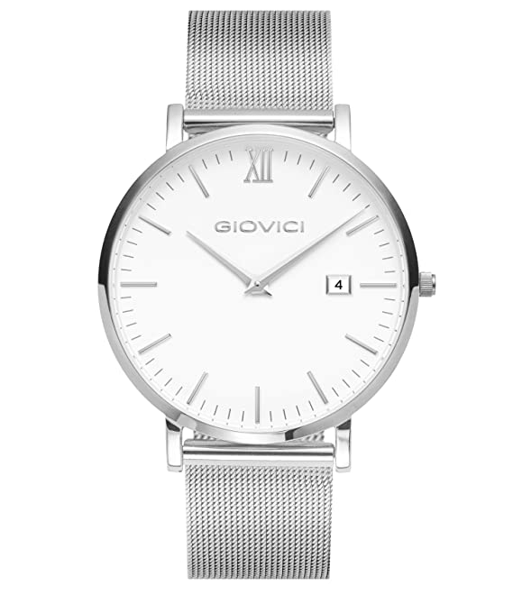 Giovici Mens Watches - Luxury Swiss Movement Designer Mens Watch - Giovici Olympus Date Window Black Face Wristwatch - Modern Mens Watch With A Classic Luxurious Charm (Silver Mesh White Face)
