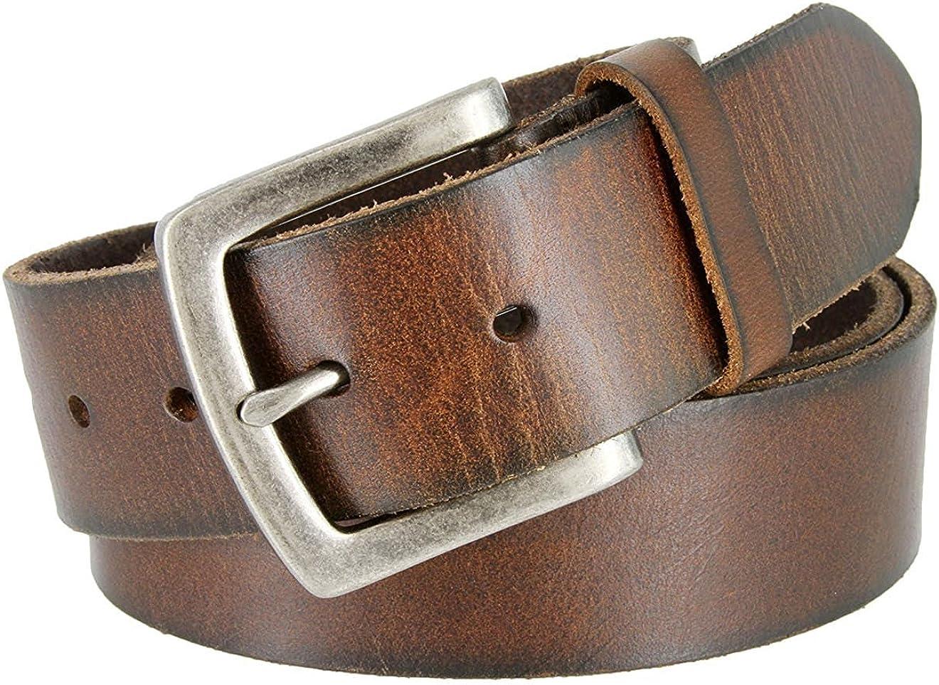 Pele Belt Men Full Grain Genuine Leather Vintage Look Rustic Silver Buckle