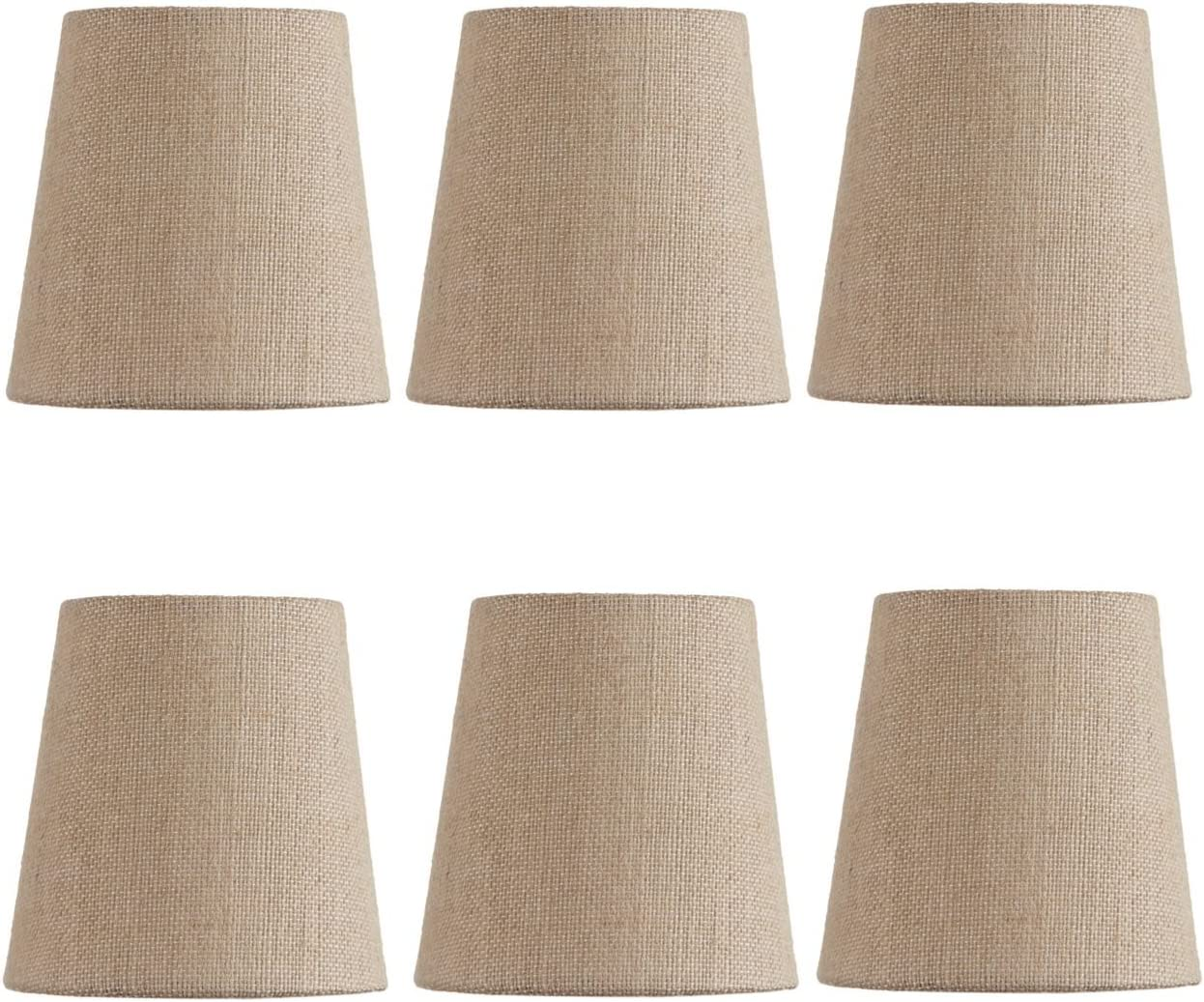 Upgradelights Beige Linen 4 Inch Mini Clip On Chandelier Lamp Shade Set of 6 2.5x4x4