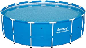 Bestway 12752E Steel Pro Above Ground 15ft x 48in Backyard Frame Pool Set   for Kids & Adults, 15-Feet by 48-inch