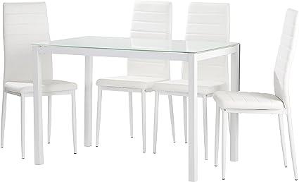 Conjunto de Cocina 4 sillas Blanco Claudia Mesa Blanco 120x70 ...