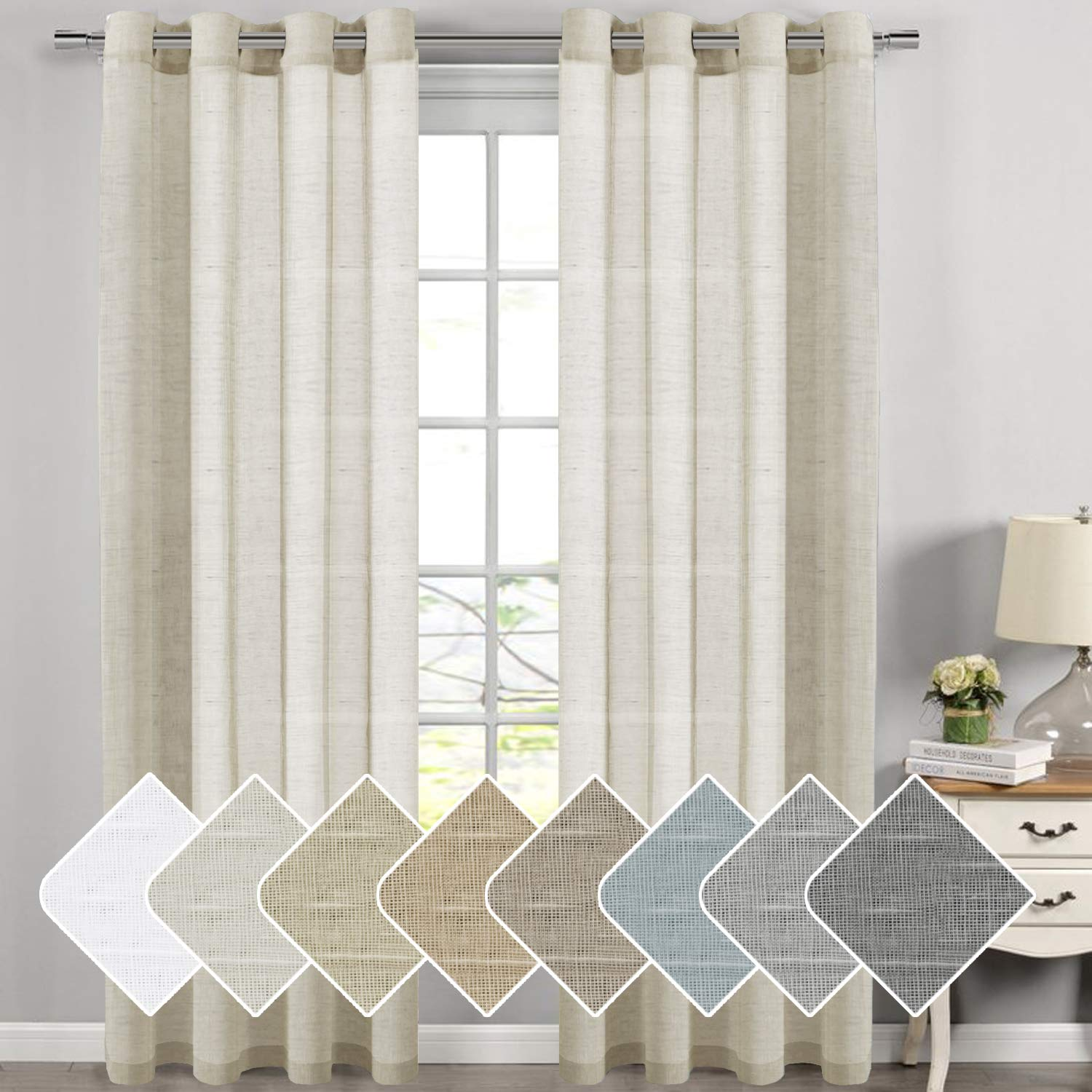 Living Room Curtains Breathable and Airy Semi - Sheers Natural Linen Blended Curtains Draperies Extra Long 108 Inches Long, Premium Soft Durable Nickel Grommet Curtain Panels Pair, Natural