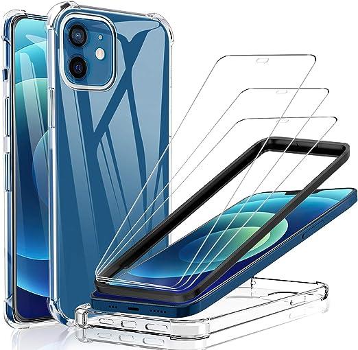 Yocktec Glas Displayschutzfolie Kompatibel Mit Iphone 12 Iphone 12pro 3 Stück Klarsicht Hülle Kompatibel Mit Iphone 12 Pro 6 1 Zoll 9h Anti Öl Schutzfolie Elektronik