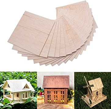 COLIBROX 15 Pack Wood Sheets, Wood Sheets Hobby Wood MDF DIY Wood Board for House Aircraft Ship Boat DIY Wooden Plate Model, for Arts and Crafts, School Projects 150x100x2mm