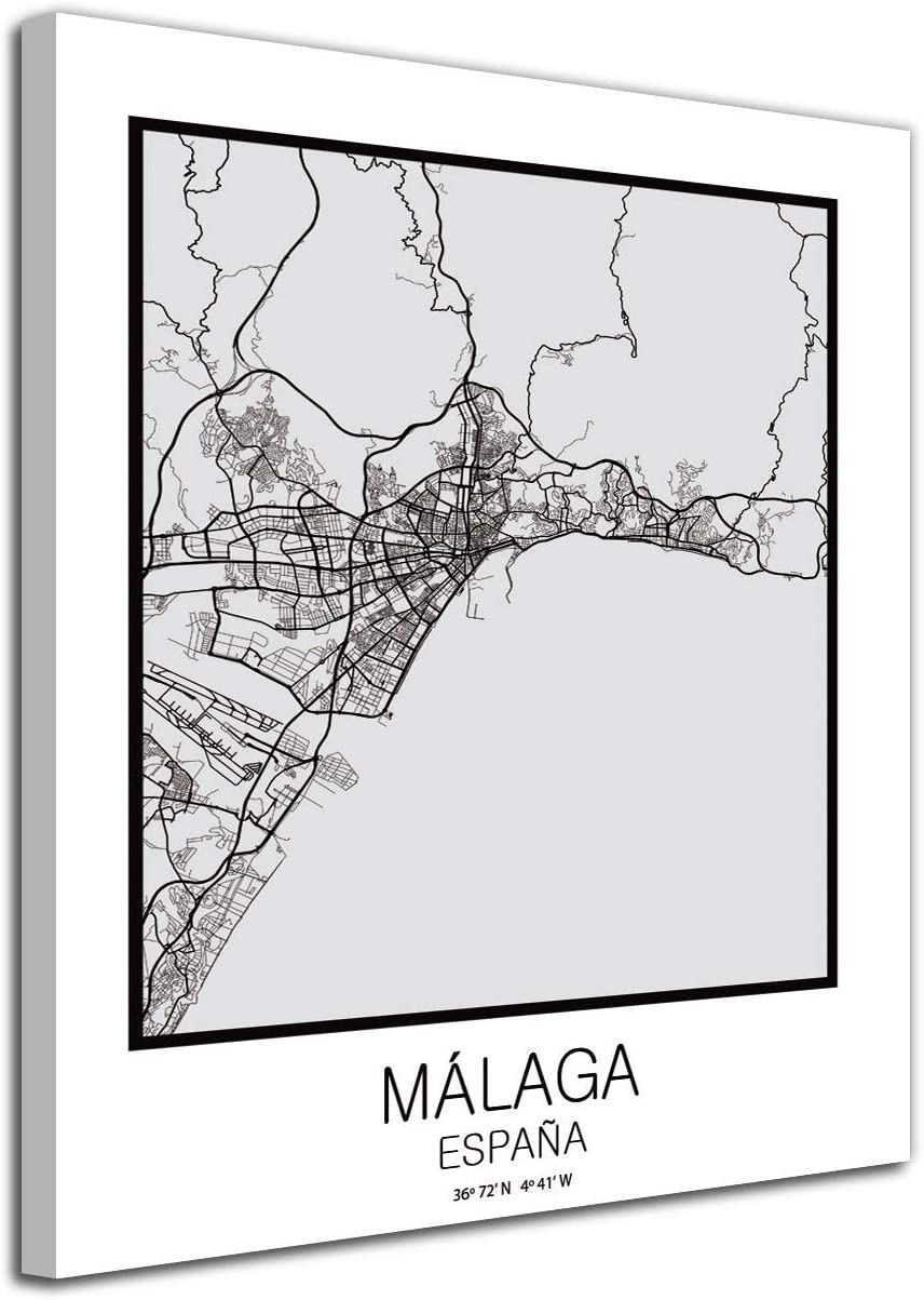 Foto Canvas Cuadro Mapa Málaga España en Lienzo Canvas Impreso Decorativo | Cuadros Modernos: Amazon.es: Hogar