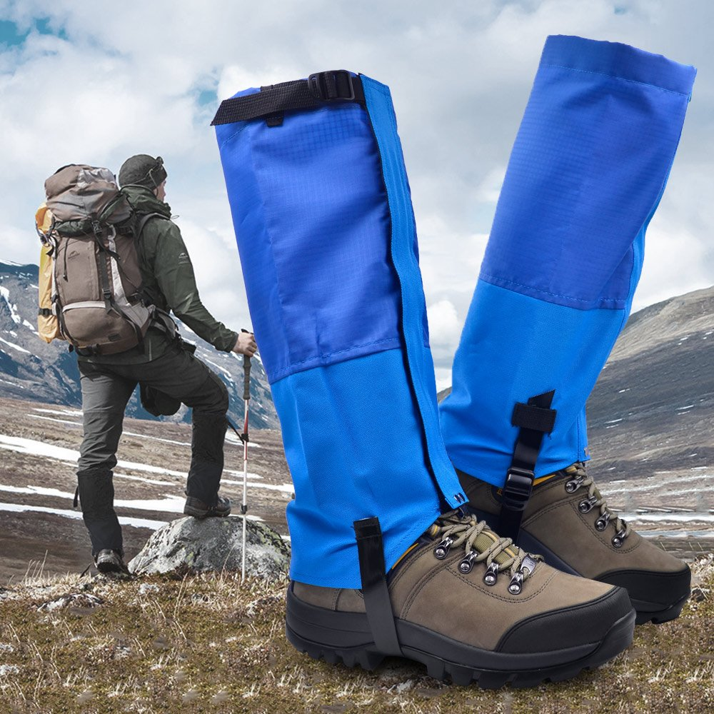 Leanking Leg Gaiters, Waterproof Snow Boot Gaiters 600D Anti-Tear Oxford Fabric Outdoor Waterproof Snow Leg Gaiters for Outdoor Hiking Walking Hunting Climbing Mountain (Blue, S)
