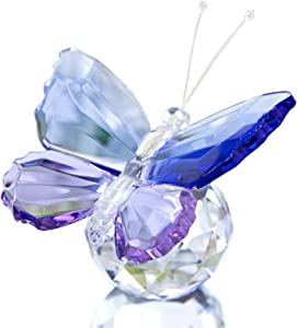 H&D Crystal Cut Butterfly Animal Ornament Decoration for Office Table Home Bedroom