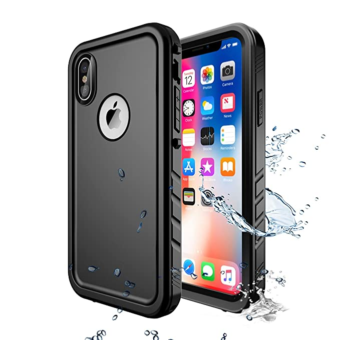 low priced d0226 690ff iPhone X/iPhone Xs Waterproof Case,iPhone X Waterproof Shockproof Full-Body  Rugged Cover Case with Built-in Screen Protector Compatible with Apple ...
