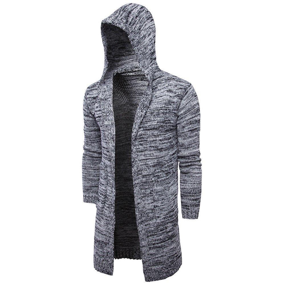 Amazon.com: Mens Fashion Cardigan Long Sleeve Hooded Knit Sweater Long Trench Coat Winter Jacket (XL, Black) : Toys & Games