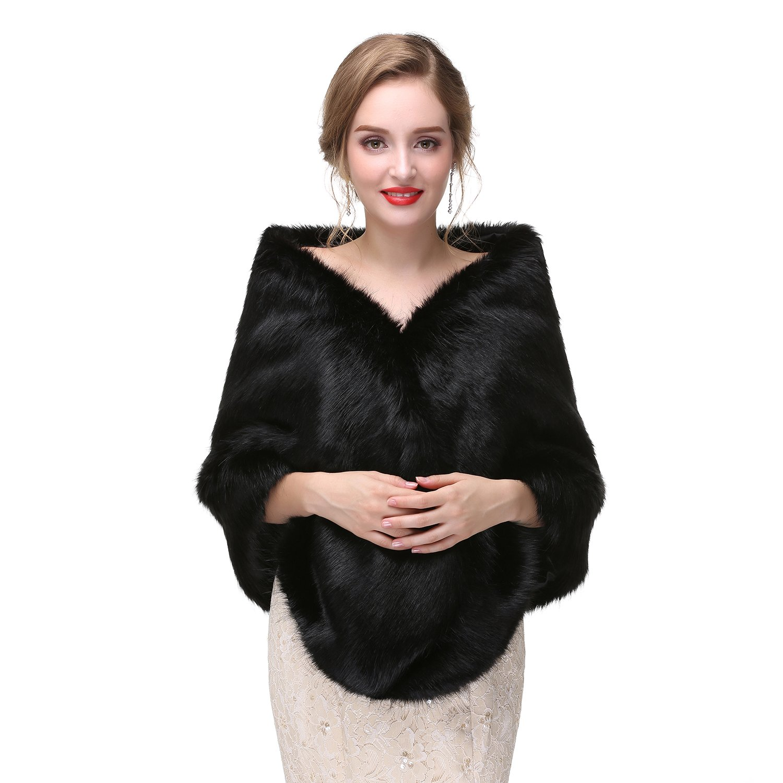 Limeng Women's Wedding Fur Wraps and Shawls for Women Bridal Fur Stole