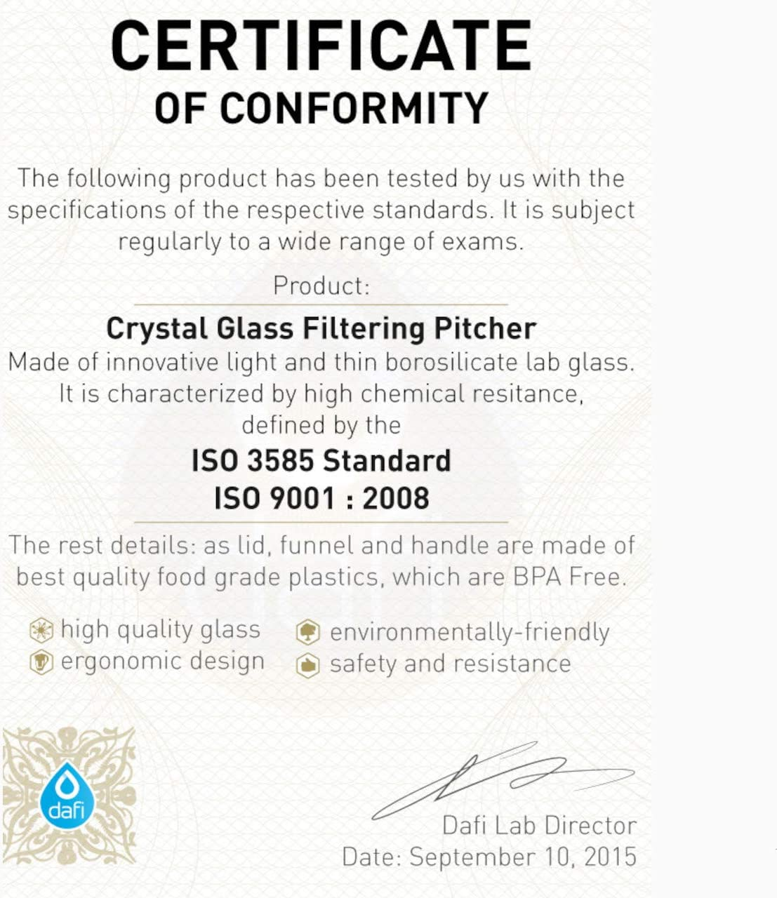 Dafi 8 Cup BPA-Free Water Filter Pitcher
