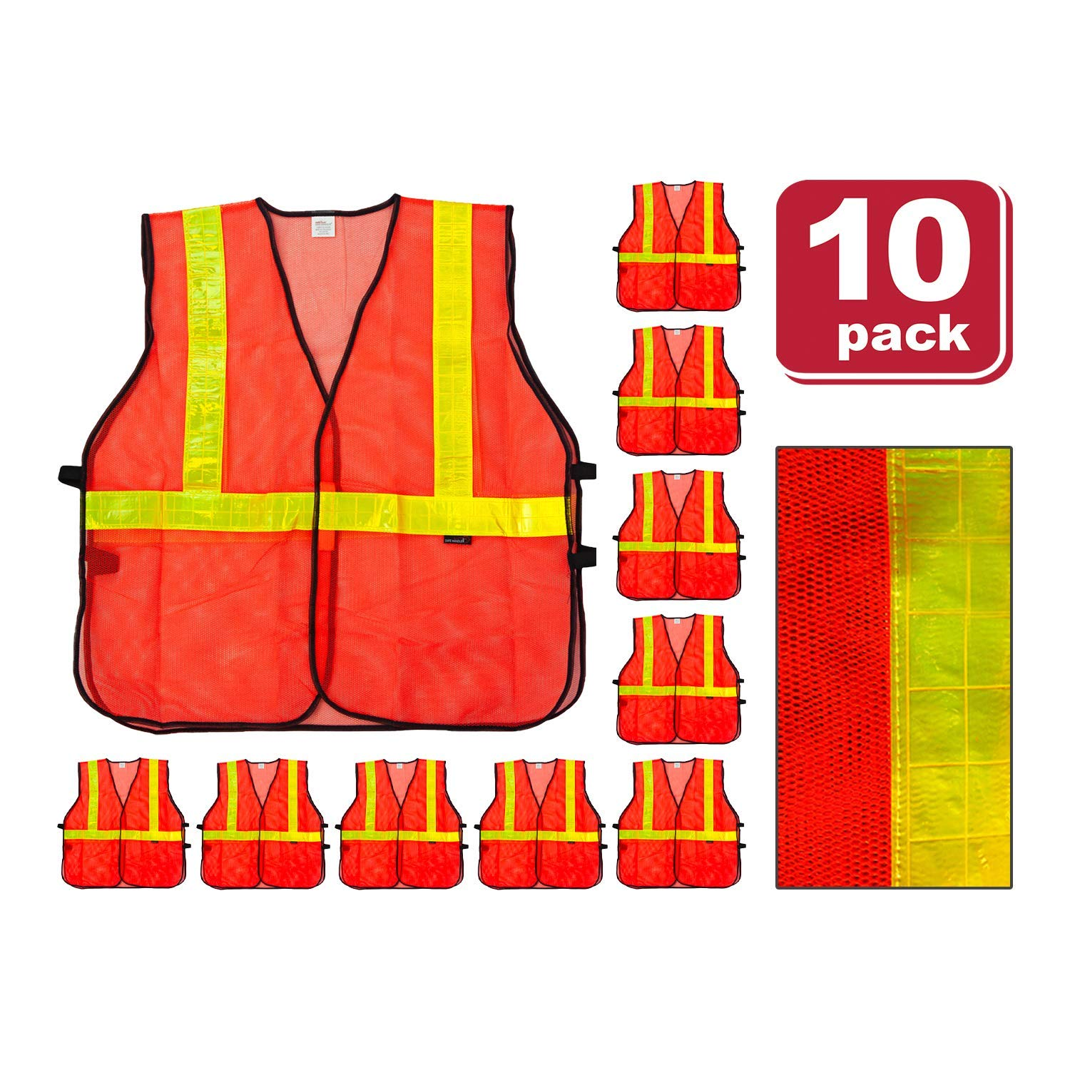 SAFE HANDLER Lattice Reflective Safety Vests   Lightweight and Breathable, Fluorescent Fabric, Hook & Loop Closure, Mesh Fabric, ORANGE, XX-Large, 10 PACK