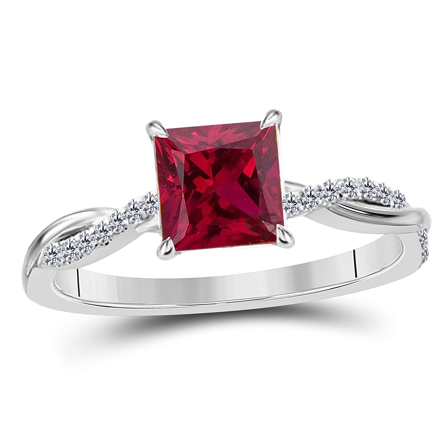 Jewelryhub 1.20 Ct Princess Cut Created Red Ruby 14K White Gold Finish Sterling Silver Swirl Style Engagement Ring Womens in