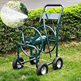 Yaheetech 300 ft Heavy Duty Garden Water Hose Reel Cart with Leader Hose & Basket on Wheels