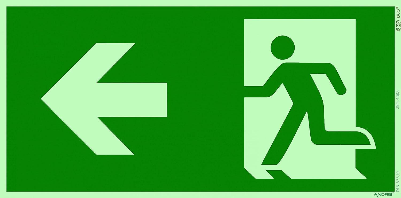 Fluchtweg / Notausgang Rettungsweg Symbol links ISO Folie lang nachleuchtend selbstklebend 300x150mm orig. ANDRIS®