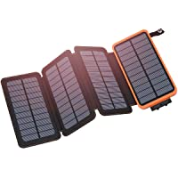 Solar Charger 25000mAh, Hiluckey Outdoor Portable Power Bank with 4 Solar Panels, Fast Charge External Battery Pack with Dual 2.1A Output USB Compatible with Smartphones, Tablets, etc.