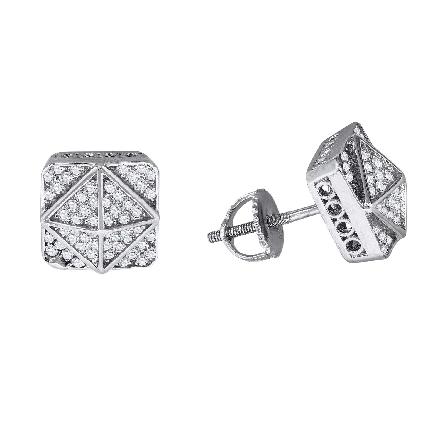Sterling Silver Mens Womens Unisex Round Cubic Zirconia CZ Stud Cluster Square Fashion Earrings