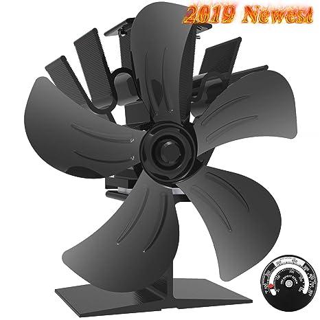 Ventilador de Estufa -Ventilador Estufa de 5 Palas Alimentados por Calor Para Leña/chimenea, Silencioso, Ecológico, Negro