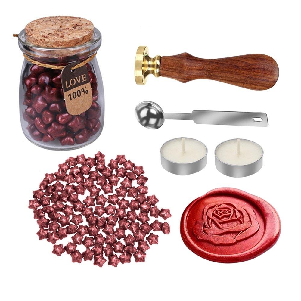 Mylifeunit rose Wax Seal stamp kit per matrimonio, retro Envelop Wax Sealing set 110 mm*200 mm*90 mm Red OS18JY094