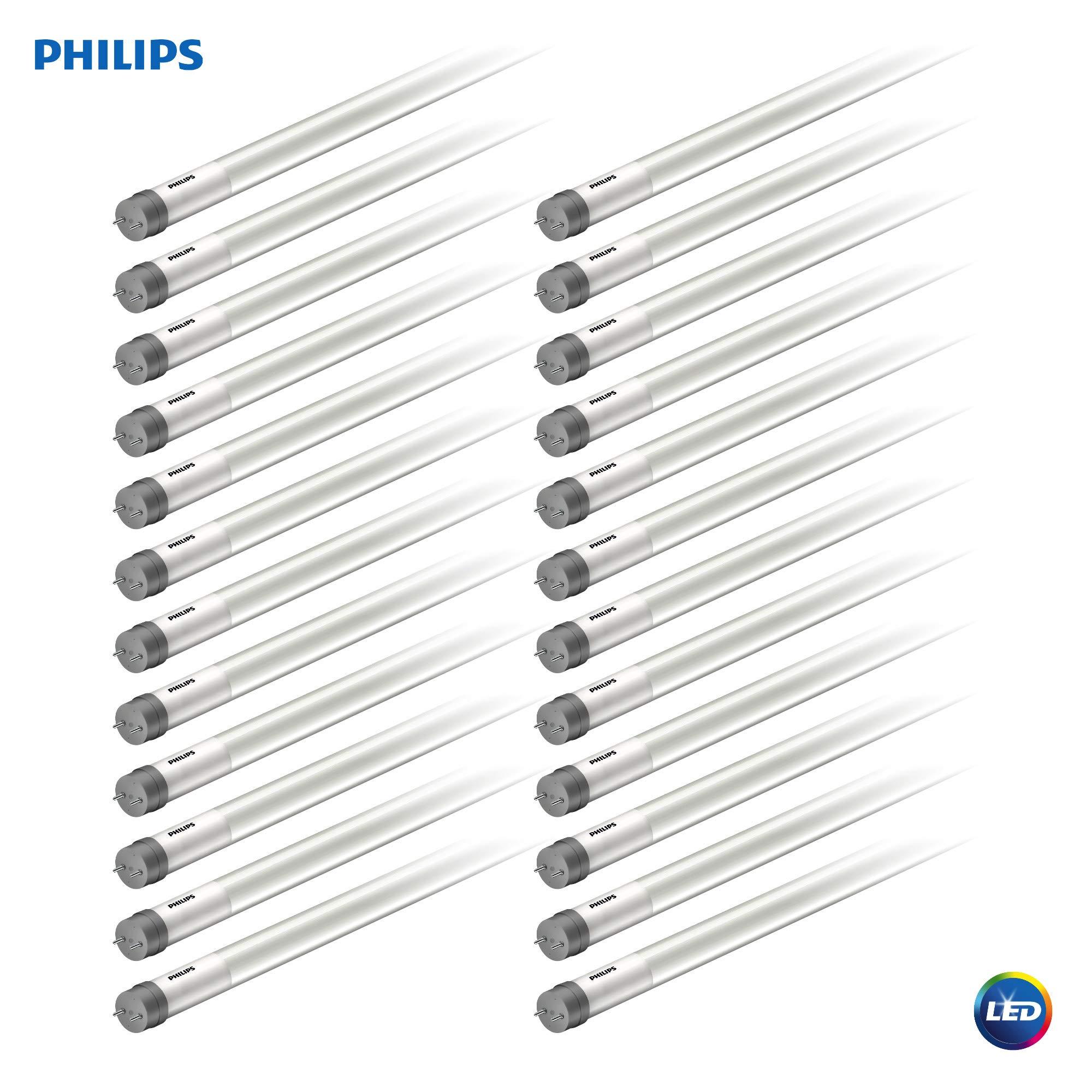 Philips LED MainsFit Ballast Bypass 4-Foot T8 Tube Glass Light Bulb: 1800-Lumen, 5000-Kelvin, 14 (32-Watt Equivalent), Medium Bi-Pin G13 Base, Frosted, Daylight, 24 Pack, 544197, 5000 Kelvin, Piece