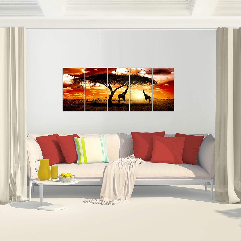 pr/êt /à accrocher 001512b Photo Afrique coucher de soleil D/écoration Murale 100 x 40 cm Toison 100/% MADE IN GERMANY Toile Taille XXL Salon Appartement D/écoration Photos dart Orange 1 parties