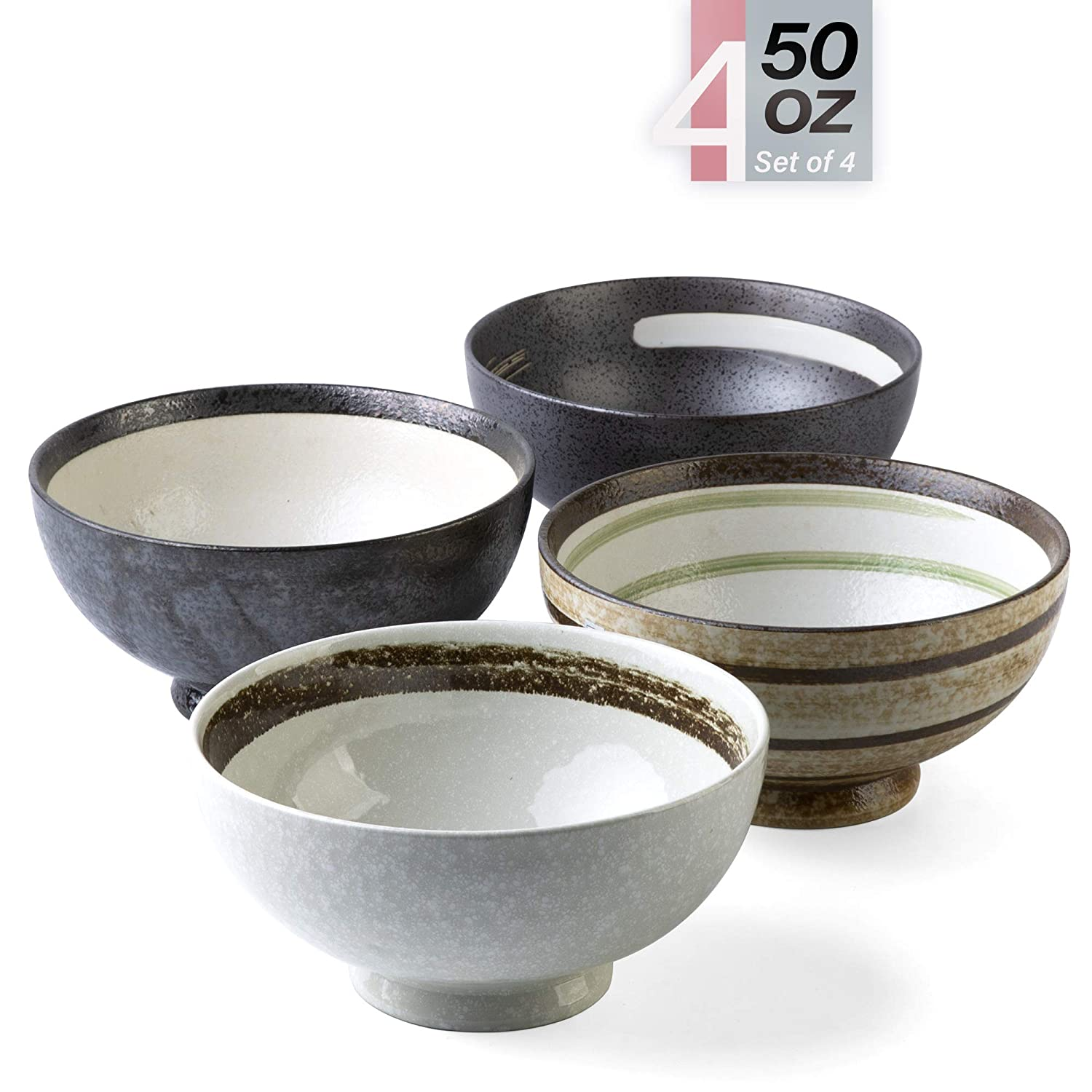 Porcelain Bowls – 50 Ounce Ceramic Large Bowl for Pasta, Cereal, Salad, Soup, Wide and Deep - Set of 4 in Hand Painted Pattern, Microwave and Dishwasher Safe