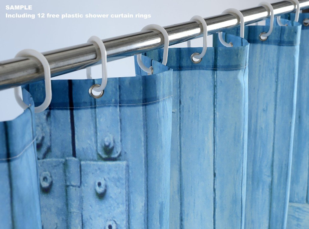 Goodbath Farmhouse Shower Curtain, Old Wooden Barn Door Window Pattern with Mountain Hill Sky Nature View, Waterproof Fabric 3D Bath Shower Curtains, 72 x 72 Inch, Old Wood by Goodbath (Image #6)
