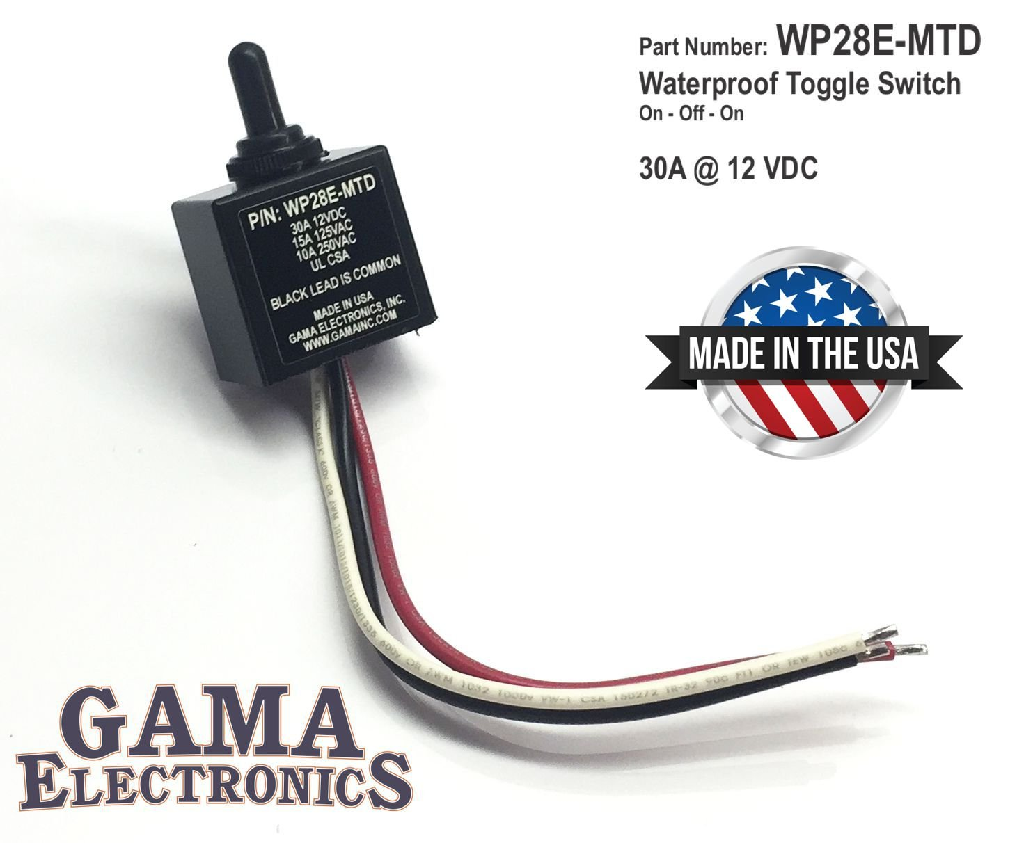 GAMA Electronics Waterproof 3 Position On-Off-On Toggle Switch