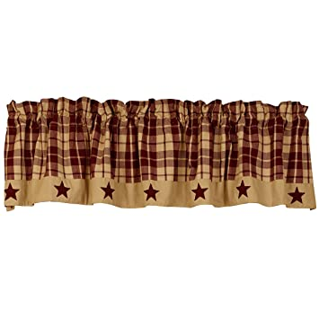 The country house collection burgundy farmhouse star valance 72x14