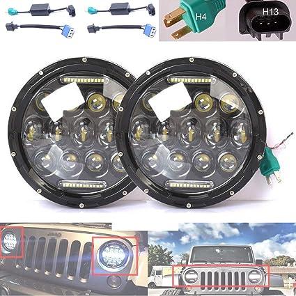 Amazon.com: Pair 7 Inch 75W LED Round Headlight H/Lo Beam DRL H6024 on h6054 wiring diagram, h4656 wiring diagram, h4666 wiring diagram,