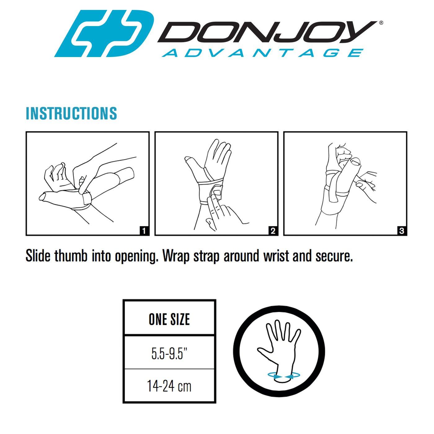 DonJoy Advantage DA161TB01-BLK Wrap Around Stabilizing Thumb Splint, Black, Adjustable, Fits 5.5'' to 9.5'', Best for Tendonitis, Arthritis, Instability by DonJoy Advantage (Image #3)