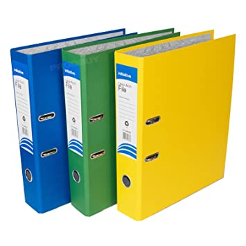 [Pack de 3] tamaño folio de archivadores de palanca 75 mm papel archivo Documento Legal carpetas de almacenamiento (azul/verde/amarillo): Amazon.es: Oficina ...