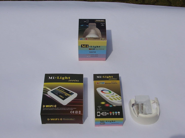 Mi-Light 2,4G 1 x Fernbedienung 4 Zonen + 1 x Halterung für FB + 1 x GU10 LED RGB + WW Lampe 5 Watt original MILIGHT® , dimmbar, RGB Farbwechsel , System incl. Mi-Light Wlan Controller IBOX 2 , ansteuerbar App IOS   Android
