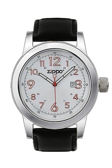 Zippo 45002 - Reloj analógico de cuarzo para hombre con correa de piel, color negro