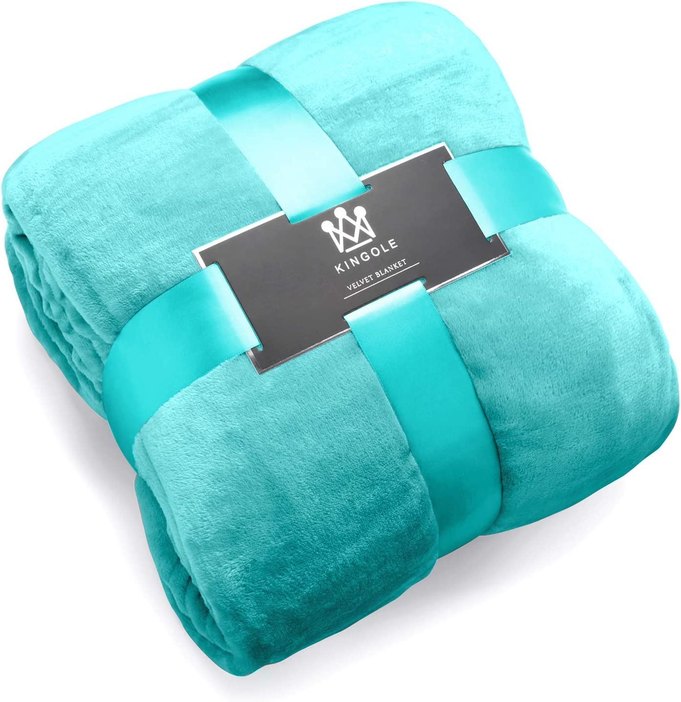 Kingole Flannel Fleece Microfiber Throw Blanket, Luxury Teal King Size Lightweight Cozy Couch Bed Super Soft and Warm Plush Solid Color 350GSM (108 x 90 inches)