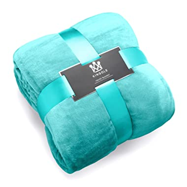 """Kingole Flannel Fleece Luxury 350GSM Teal King Size Lightweight Cozy Couch/Bed Super Soft and Warm Plush Microfiber Solid Color Throw Blanket (108""""x90)"""
