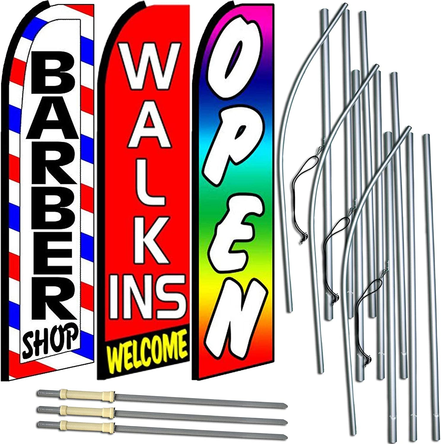 Pack of 3 Now Open Now Open King Swooper Feather Flag Sign Kit with Pole and Ground Spike Barber Shop