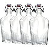 Paksh Novelty Clear Glass Swing Top Pocket Flask / Glass Liquor Bottle | 17 oz [Set of 4]