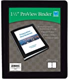 "Blue Sky ProView 3 Ring View Binder, Letter Size, 1.5"", Black, Leather-Like Textured Cover"