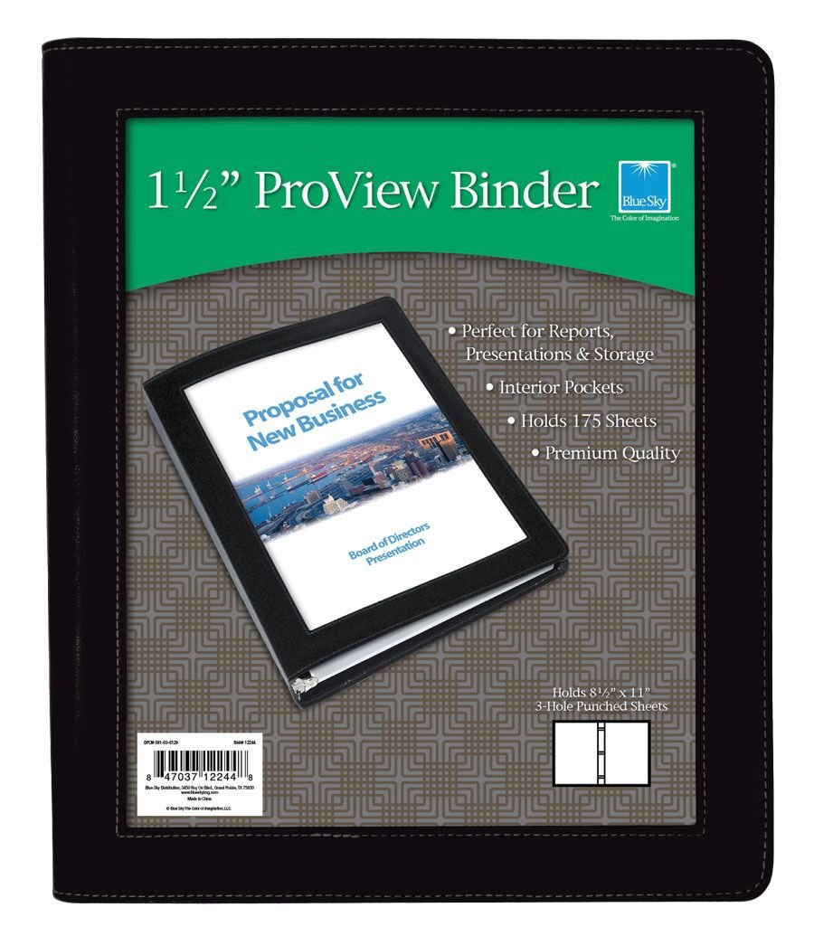 amazon com blue sky proview 3 ring view binder letter size 1 5