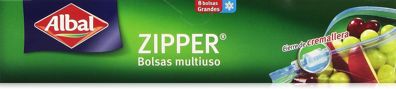Albal Bolsas multiuso, ZIPPER, cierre hermético de cremallera, tamaño mediano (1L), 12 unidades