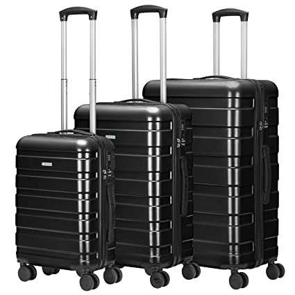 525f449f44c5 Amasava Hand Luggage Set of 3 ABS & PC Hard Shell Lightweight Travel  Suitcase 4 Spinner Wheels Carry On Trolley Suitcases Set, Black