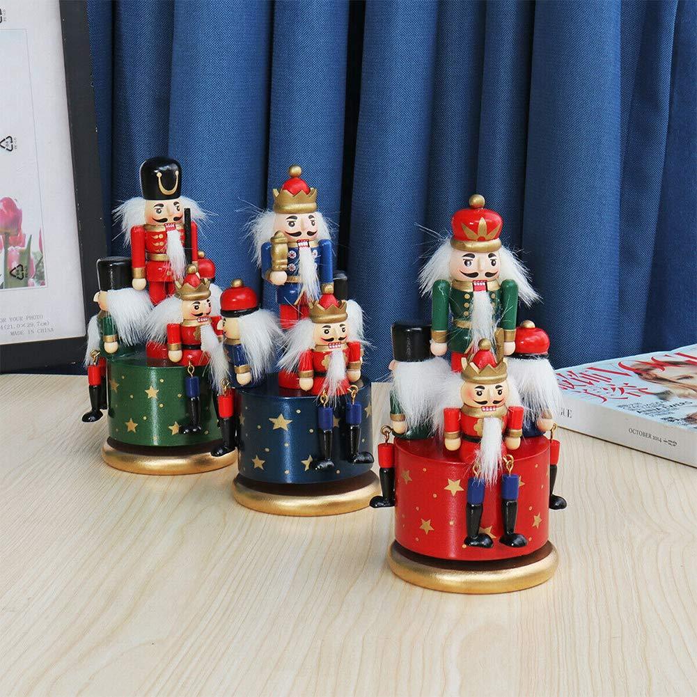 Azul Dengofng Navidad Nutcrackers Ni/ños Dormitorio Decoraci/ón Adornos Madera Cascanueces de Cuerda Caja de M/úsica Verde King y Soldados Collectibles Free Size