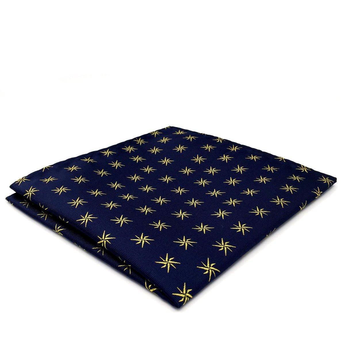 Shlax&Wing Hombre Seda Pañuelo De Bolsillo Para Traje De Negocios Azul Geométrico 32cm