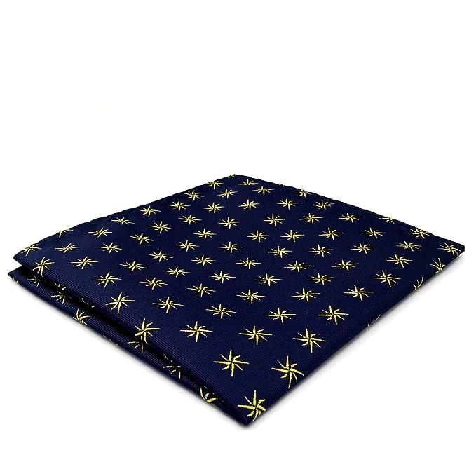 Shlax&Wing Hombre Seda Pañuelo De Bolsillo Para Traje De Negocios Azul Geométrico 12.6
